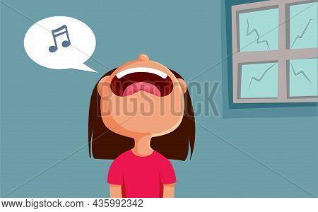 Little Girl Singing Breaking A Window Vector Cartoon