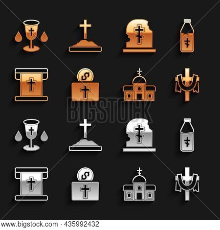 Set Donation For Church, Holy Water Bottle, Christian Cross, Church Building, Flag With Christian, G