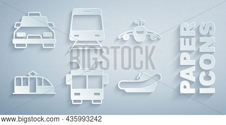 Set Trolleybus, Plane, Tram And Railway, Rafting Boat, Train And Taxi Car Icon. Vector
