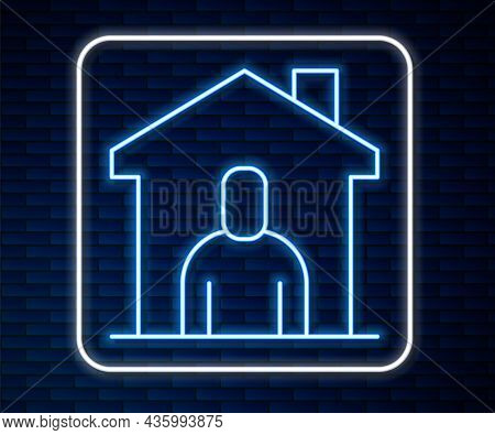 Glowing Neon Line Shelter For Homeless Icon Isolated On Brick Wall Background. Emergency Housing, Te