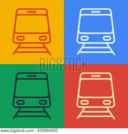 Pop Art Line Train And Railway Icon Isolated On Color Background. Public Transportation Symbol. Subw
