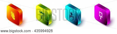 Set Isometric Rubber Gloves, Paint Roller Brush, Spray Gun And Spray Can Nozzle Cap Icon. Vector