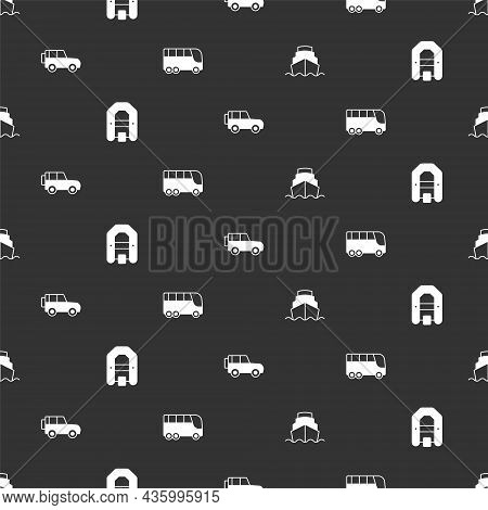 Set Cruise Ship, Rafting Boat, Off Road Car And Bus On Seamless Pattern. Vector
