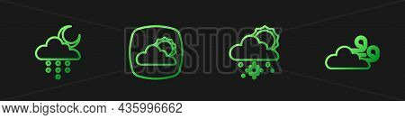 Set Line Cloud With Snow And Sun, Rain Moon, Weather Forecast And Windy Weather. Gradient Color Icon