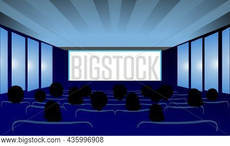People Watching Movies In The Cinema Vector Illustration.