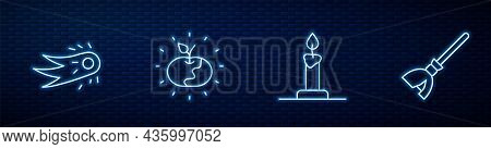 Set Line Burning Candle In Candlestick, Fireball, Poison Apple And Witches Broom. Glowing Neon Icon