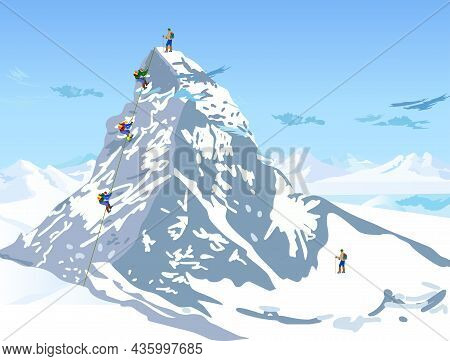 Climbers On The Snowy Mountain With Sky Vector Illustration.