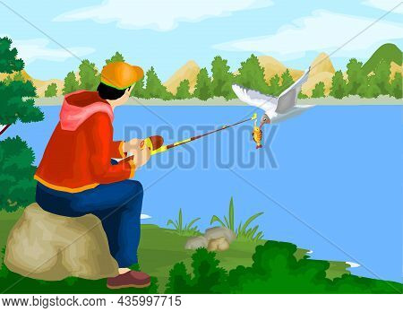 Fisherman Fishing Near The Lake Vector Illustration.