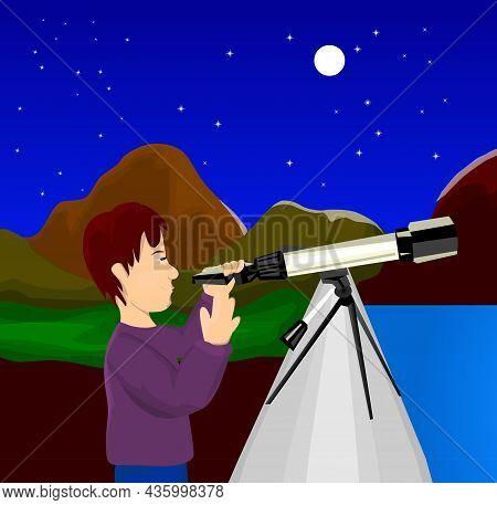 Man Looks Through A Telescope At Night Vector Illustration.