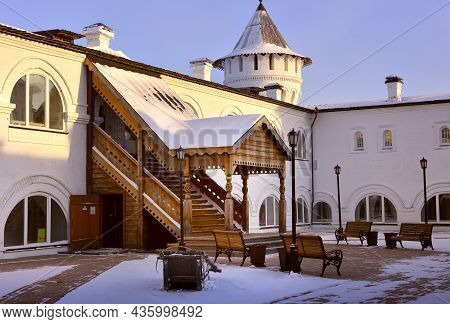 Tobolsk Kremlin In Winter. The Inner Square Of Guest Yard, Russian Architecture Of The Xviii Century
