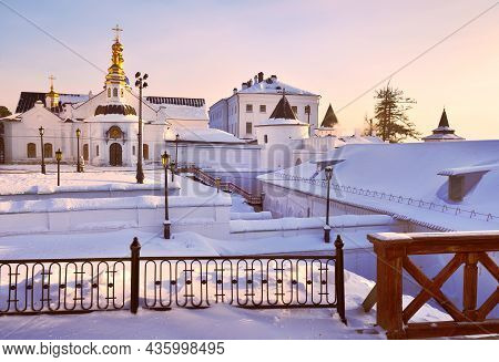 Tobolsk Kremlin In Winter. Holy Intercession Cathedral At The Pryamsky Rise, Ancient Russian Archite