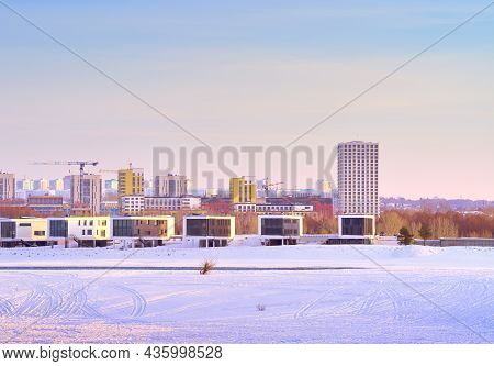 Winter Morning On The Ob. New Residential Area On The Frozen River Bank In Novosibirsk