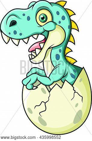 Vector Illustration Of Cartoon Baby Dinosaur Hatching From Egg