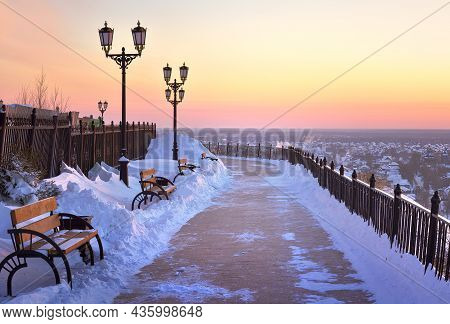 Tobolsk Kremlin In Winter. Observation Walkway On The Edge Of The Upper Town In The First Capital Of