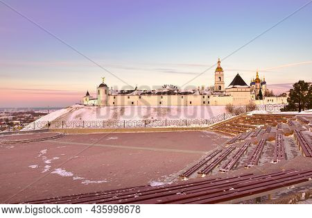 Tobolsk Kremlin In Winter. Eastern Fortress Wall From The Site In The Garden Of Ermak In The First C