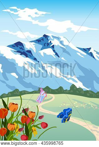 Mountain And Nature Vector Illustration. Mountain And Nature Vector Illustration.