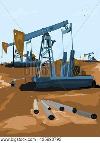 Oil Wells Oil Industry Vector Illustration. Oil Industry