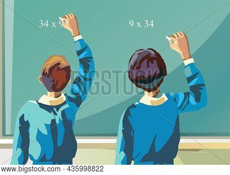 Pupils Write On Black Board Vector Illustration.