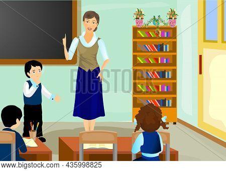 Pupils And Teacher In School Vector Illustration.