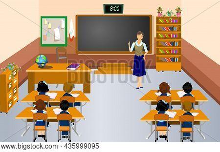 Pupils And Teacher In School Vector Illustration. Teacher In Front Of The Blackboard