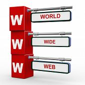 3d illustration of modern roadsign cubes signpost of www - world wide Web poster