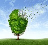 Human dementia problems as memory loss due to age and Alzheimer's disease with the medical icon of a tree in the shape of a front face human head and brain losing leaves as thoughts and mind function fade away. poster