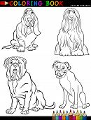 Coloring Book Black and White Cartoon Illustration of Cute Purebred Dogs poster