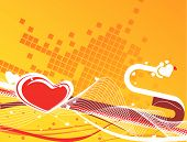 Valentine Day background with wave line heart. poster