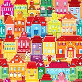 Seamless pattern with decorative colorful houses. City endless background. poster