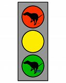 Traffic light showing a dog doing an interdicted and favored poster
