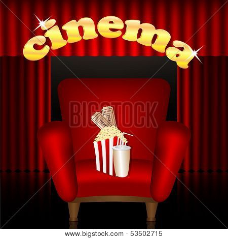Cinema Background.cinema Hall.red Chair With A Drink And Popcorn On A Background Of Portieres.vector