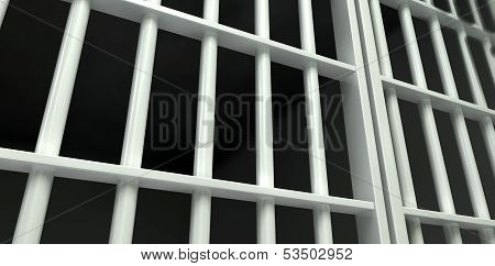 White Bar Jail Cell Perspective Locked
