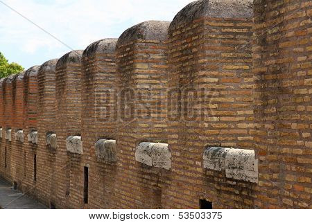 Crenellations Of The Walls Of The Medieval Castle In A European Town