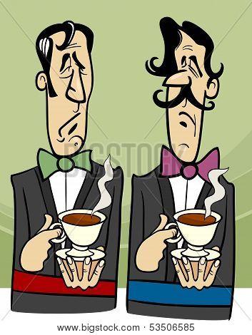Dignified Gentlemen Cartoon Illustration
