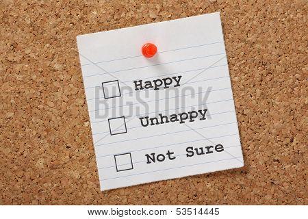 Happy, Unhappy or Not Sure