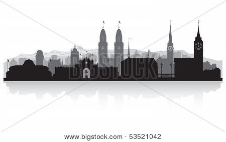 Zurich Switzerland City Skyline Silhouette
