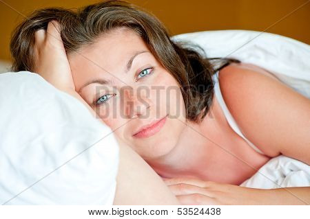 Portrait Of A Beautiful Girl Has Woken Up In Bed