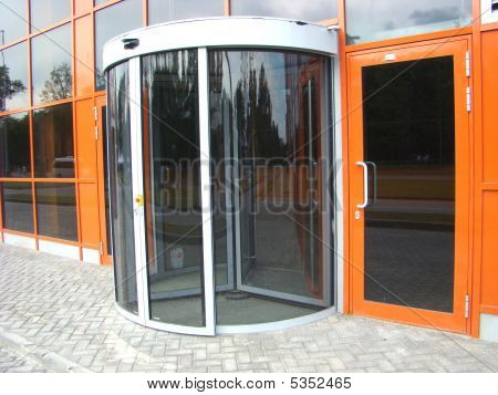 The Glass Revolved Door Is In Building