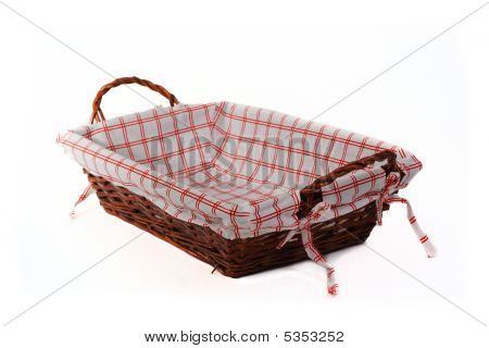 Bread Basket At Angle Isolated Over White