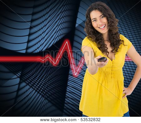 Composite image of smiling curly haired pretty woman changing channel with remote poster
