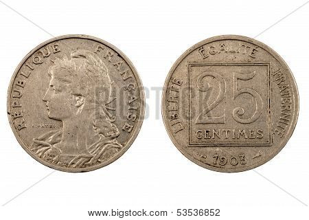 Old French Coin Isolated On White