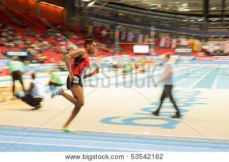 GOTHENBURG, SWEDEN - MARCH 1 Hayle Ibrahimov (Azerbaijan) wins heat 2  of the men's 3000m event during the European Athletics Indoor Championship on March 1, 2013 in Gothenburg, Sweden.