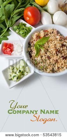 Refreshing tabouleh salad and ingredients