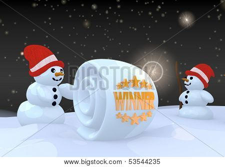 Two Snowman With Winner Symbol