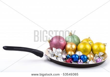 Christmas Decorations On Frying Pan
