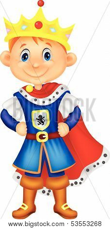 Cute boy cartoon with king costume