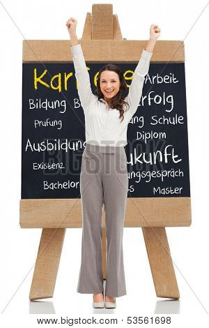 Composite image of cheerful businesswoman in front of chalkboard with german terms about career written