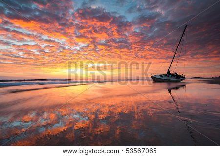 North Carolina Outer Banks Shipwreck Sunrise Reflection