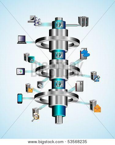 Vector Illustration of Enterprise mobile application global integration