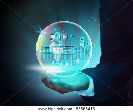 Virtual Image Illustration Of Enterprise Service Bus With Globe In A Business Man Hand